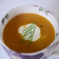 Sweet potato, orange, leek and fennel soup