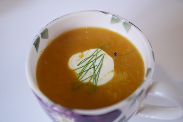 Sweet potato, orange and fennel soup