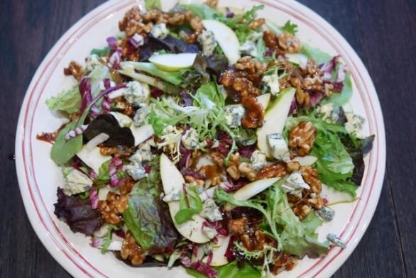 Bittergreens, Pear, Stilton, caramelised Walnut salad