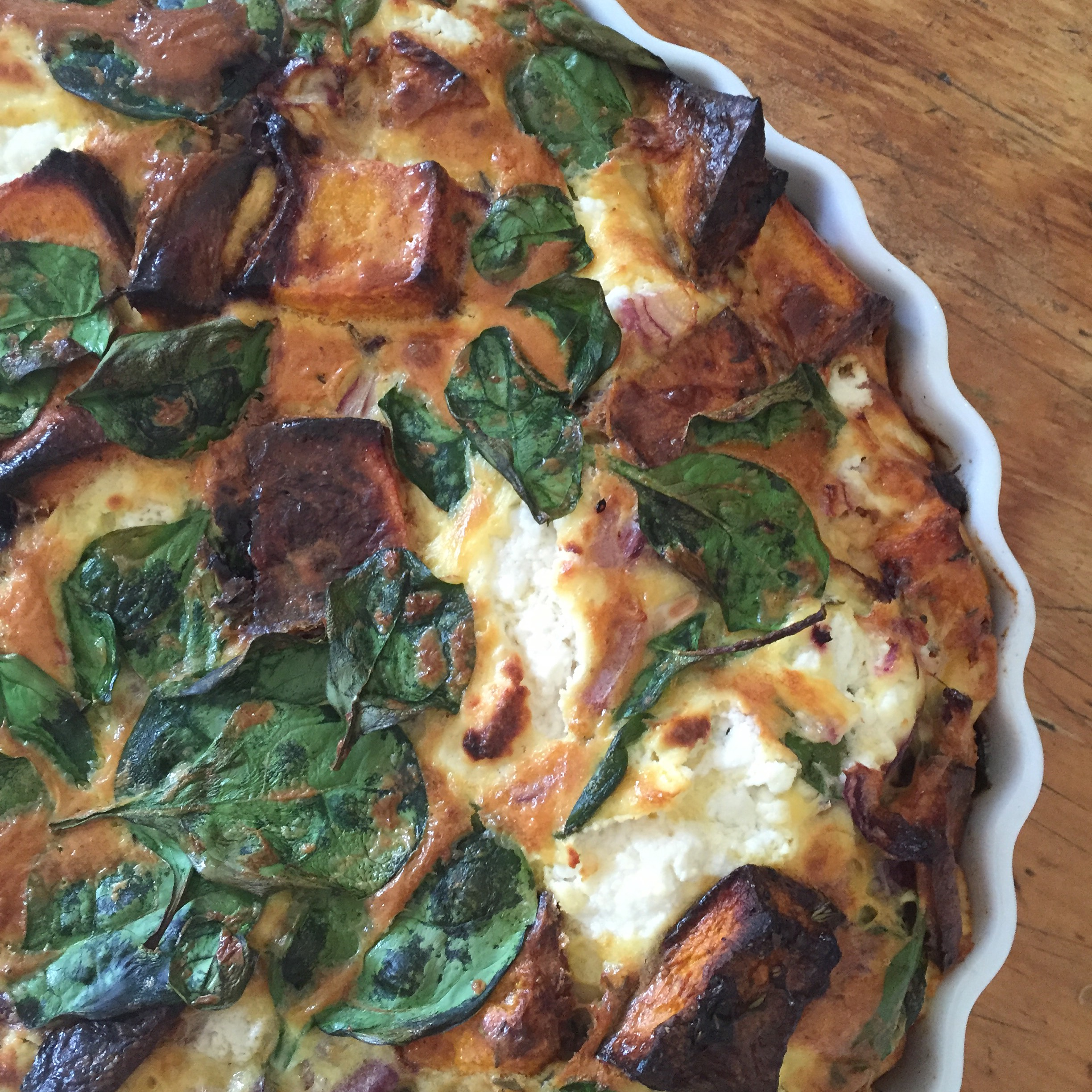 Roast pumpkin, spinach and goat's cheese frittata